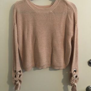 Nordstrom pink lace up sleeve sweater